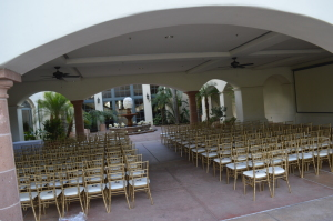 BCC courtyard set up for a wedding